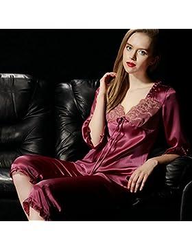 CHUNHUA La signora pantaloni a maniche lunghe tuta pigiama 100% tuta di seta , wine red , l