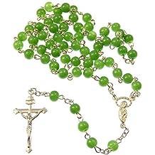 Collar abalorios rosario cristales 6mm estilo verde jade