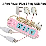 Extension Cord, Power Strip With USB, Smart Power Strip 3 Outlet, 2 Port USB Charger, 6 Fit Heavy Duty Wire.