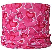 Braga para el cuello, pañuelo de microfibra multifunción, diseño de corazones de color rosa de fondo