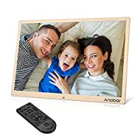 Andoer 15.4inch LED Digital Photo Frame 1280 * 800 Resolution Support 1080P Video Random Play Aluminum Alloy with Remote Control Christmas Birthday Gift