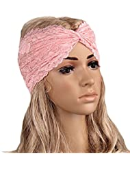 TININNA Vintage élégant élastique dentelle torsadé Wrap tête Turban Hairband Bandeau pour cheveux bulles Accessoires pour cheveux rose