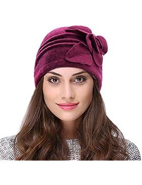Vbiger Cappelli di Lana Berretto di Lana Cappello Bombetta Donna in Lana per Inverno e Autunno