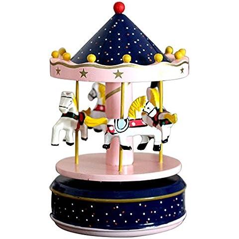 BEETEST Caballos de carrusel clásico gira música caja de música con el castillo en el cielo melodía hogar decoración niño regalo de cumpleaños de los infantil vacaciones