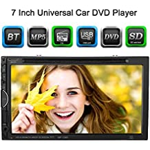 "KKmoon 7"" Reproductor Mulimedia 2 Din DVD/USB/SD Pantalla HD TFT Dise?o UI Bluetooth Radio Entertenimiento Entrada Aux Multilenguaje para Coche Universal"