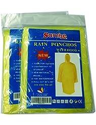 Desechables de lluvia Poncho de un tamaño passte todos con capucha 10Pro Juego, amarillo