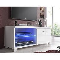 SelectionHome - Módulo salón comedor TV, color Blanco y Blanco Lacado Brillo, medidas: 100 x 40 x 42 cm de fondo
