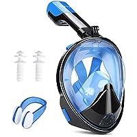 INTEY Schnorchelmaske Tauchmaske 180° Blickfeld Vollmaske mit Anti-Fog und Anti-Leak, Freies Atmen für Erwachsene und Jugendliche, Blau 2, L-XL