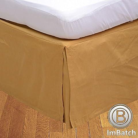 """600TC 100% cotone egiziano, finitura elegante scatola salva Bedskirt, pieghettato, a forma di goccia, lunghezza: 30,48 (12"""") cm), Cotone, Gold Solid, singolo UK"""