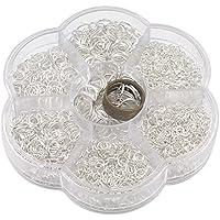 Ucatcher offene Biegeringe mit transparentem Gehäuse und Schmuck machen Werkzeug für Schmuck machen Erkenntnisse, 7 verschiedene Größen 3 4 5 6 7 8 10mm, Silber