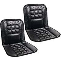 Komodo 2 x ORTHOPAEDIC LEATHER CAR FRONT SEAT PAIR COVERS PROTECT BACK SUPPORT CUSHION - BLACK