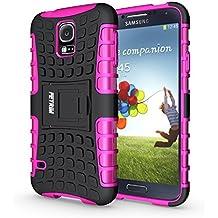 Funda Galaxy S5 , Funda S5 Neo, Fetrim Proteccion Cáscara Cases delgada de golpes Doble Capa de Tough Armor Anti-Shock de soporte de Protectora para Samsung Galaxy S5/S5 Neo (Rosa caliente)