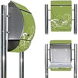 Edelstahl Standbriefkasten mit Fuß und Motiv: Grüne Blüten