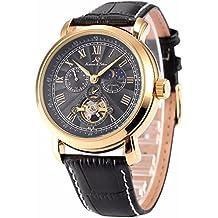 KS Reloj para hombres dorado, mecánico automático correa de cuero nergo KS221