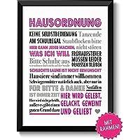 HAUSORDNUNG - Bild mit humorvollen Hausregeln mit schwarzen Rahmen - Geschenk zum Einzug Umzug Einweihung Richtfest