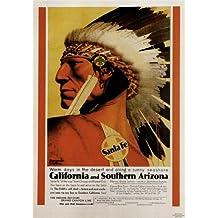 CALIFORNIA Y SUR DE ARIZONA-1930- Poster ferrocarril Vintage EEUU A4 Acabado Mate (297 mm x 210 mm)