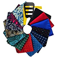 Pocket Squares for men 15 Pack set with Pocket Square Holder in Designer Gift Box Assorted colors Polka dots Paisley Plain by ekSel