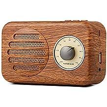 Naturlife Altavoz estéreo portátil Bluetooth Retro de Madera con Radio FM, Entrada de Audio de