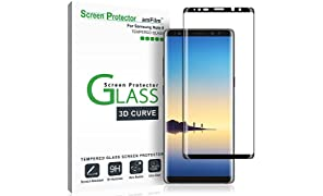 amFilm Galaxy Note 8 Screen Protector Glass, Full Cover (3D Curved) Tempered Glass Screen Protector with Dot Matrix for Samsung Galaxy Note 8 (1 Pack, Black)