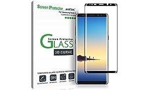amFilm Galaxy Note 8 Pellicola Protettiva, Copertura Totale Vetro Temperato Protezione Schermo per Samsung Galaxy Note 8 (1 Pack, Nero)