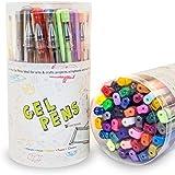 Color Technik - Bolígrafos de gel, 40 unidades, varios colores (brillantina, metálico, pastel, neón y clásicos). Sin ácido, de gran calidad, secado rápido con puntas resistentes y escritura fluida de tinta de gel. ¡Mejora tu experiencia de coloreado ahora! ¡Ideal para regalo!