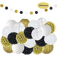 Mixed Gold Black White Decorative Paper Pompoms Flower Hanging Paper Lantern Honeycomb Balls Wedding Birthday Christening Girl Baby Shower Decoration Favour (22pcs)