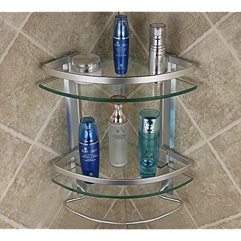 Bagno o della cucina il portasciugamani Supporto per montaggio a parete in rack di storage,organizzare tutto il ripiano con asciugamano e scaldasalviette Rail,Rack doppio spazio in alluminio doppi vetri con asciugamano Bar