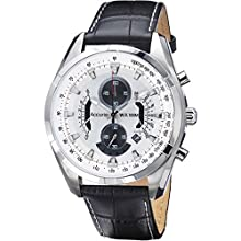 Accurist Men's Quartz Watch with White Dial Chronograph Display and Black Leather Strap MS785B.01