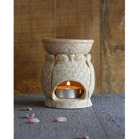 Store Indya, Soapstone Natural Oil Burner Con disegno del gufo per la decorazione domestica