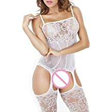 FAVOLOOK Womens Fishnet Bodystockings, Sexy Lingerie Black Lace Crotchless Bodysuit For Dating Nightwear Sex