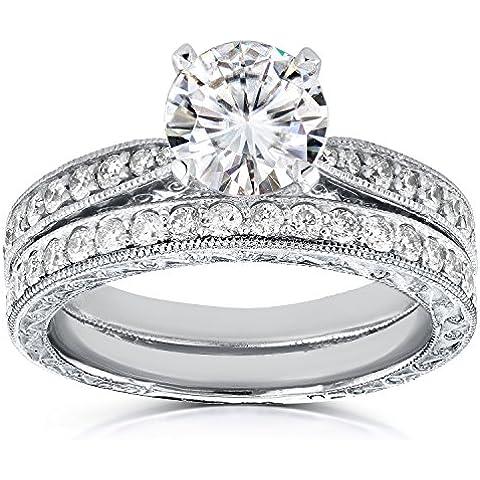 Antico sempre brillante Moissanite anello con diamanti e set 11/2Ctw in oro bianco 14K _ 9