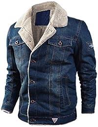 LCXYYY Herren Wintermantel Jeans Jacke Mäntel Denim Jeansjacke Winter Denim  Jacket Gefütterte Revers Slim Fit Winterjacke Parka… d9e89df2bd