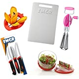 Combo Of Chopping Board, Multi Crusher, Hand Beater, Sumo Knife Set, With Mango Cutter