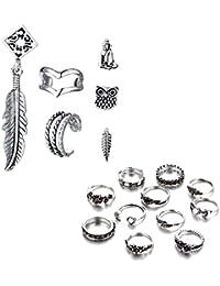 11 piezas de aleación de flores Vintage Junta nudillos de uñas MIDI anillos + 6 PCS patrón bohemio de oreja anillos de hueso hipoalergénico aretes joyería conjunto