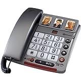 Amplicomms PowerTel 68 Plus Téléphone filaire à grosses touches amplifié avec Répondeur Numérotation rapide visuelle