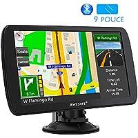 AWESAFE 9 Pouce Appareil de Navigation Automatique pour Voiture Fonction Mains Libres avec écran Tactile GPS Système de Commande vocale multilingue intégré de 8Go