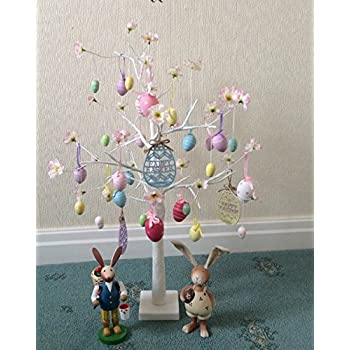 Jaymark Products Easter Tree With Lights - White 70cm Table Top Twig Tree - Pre-Lit with 24 LEDS Includes Complimentary Decorations