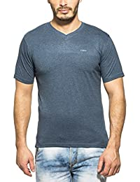 Clifton Mens Half Sleeve V-Neck T-Shirt Navy Melange