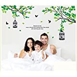 StylishWalls Beautiful Calm Green Trees Nature Wall Stickers For Bedroom I Wall Stickers For Living Room, Kids Room With An Awesome Forest Theme Scenery Of Chirping Love Birds, Cage, Tree Branches And Leaves, And A Cute Heart-warming Quotation I Ideal For
