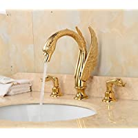 Tougboo bagno moderno in ottone dorato cigno rubinetto lavabo con rubinetto miscelatore doppio manico, White, Chrome