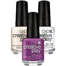 CND Creative Play Raisin Eyebrows Nr. 444 13,5 ml mit Creative Play Base Coat 13,5 ml und Top Coat 13,5 ml, 1er Pack (1 x 0.041 l)