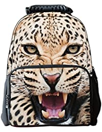 Aubig Boys Girls 3D Animals Print Daypack Backpack School Bag - White Leopard
