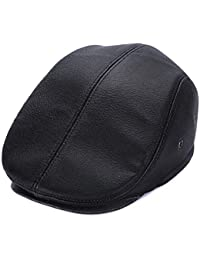Men s Cowhide Leather Flat Cap with Earflaps Thick Winter Warm Elder  Classic Caps Adjustable 436be264c8f3