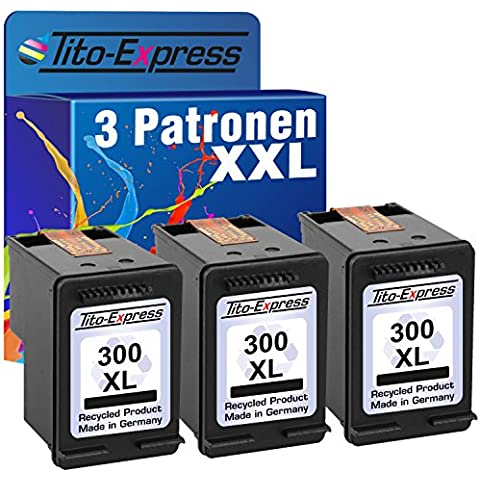 PlatinumSerie® 3x Cartucce compatibile con HP 300XL Black PhotoSmart C4600 C4610 C4635 C4640 C4650 C4670 C4680 C4685 C4690 C4700 C4740 C4750 C4780 C4785 C4795 D110A D110B D110 e-All-in-One