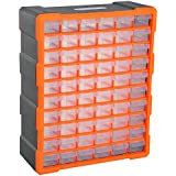DURHAND 60 Drawers Parts Organiser Wall Mount Storage Cabinet Garage Small Nuts Bolts Tools Clear Orange