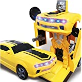 Asian Hobby Crafts Babytintin Battery Operated 2 in 1 Transform Robot Races Car Toy with Bright Lights and Music (Multicolour)