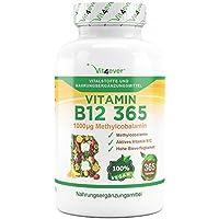 Vitamin B12 365 - 1000 µg - 365 Tabletten - Methylcobalamin - 100% vegan - Laborgeprüft - Leicht Einnahme - Hohe Dosierung 1000 mcg pro Tablette - Vit4ever