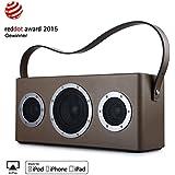 GGMM M4 Multiroom Enceinte AirPlay - Haut-parleur portable WIFI / Bluetooth -Speaker d'extérieur sans Fil avec Poignée en Cuir(Marron)