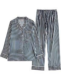 c01453217b Mmllse Pijamas para Mujer Traje De Manga Larga Rayas De Seda Se Pueden Usar  Fuera De La Sección Delgada para Hombres Servicio A…