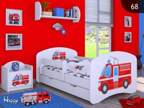 *HB Kinderbett mit Matratze und Bettkasten – NEU , Verschiedene Motive Weiss (160x80cm ohne Schublade, FEUERWEHR)*
